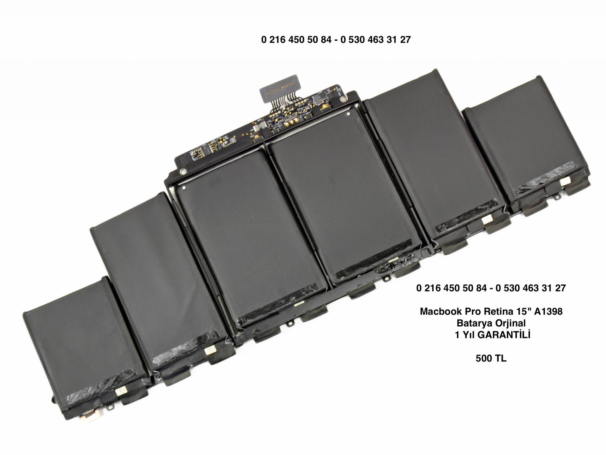 "Macbook Pro Retina 15"" A1398 Batarya Orjinal 1 Yıl GARANTİLİ"